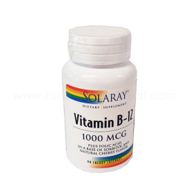 SOLARAY VIT B12 + ACIDO FOLICO 1000MCG 90 COMP SUBLINGUAL